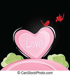 ame pássaros, cartão, valentine