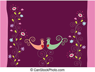 ame pássaros, e, flores