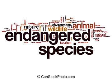 ameaçada extinção, conceito, palavra, espécie, nuvem
