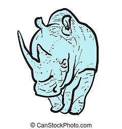 ameaçada extinção, esboço, ilustração, rinoceronte