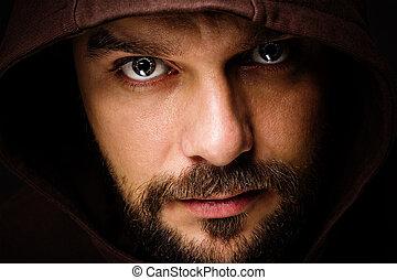 ameaçar, homem, com, barba, desgastar, um, capuz