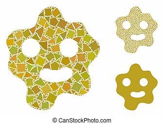 ameba, elementos, andrajoso, icono, composición