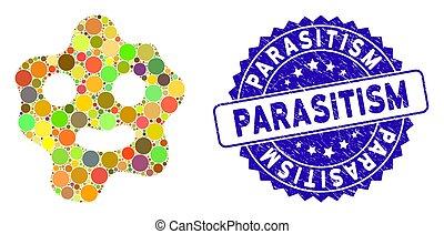 ameba, textured, parasitism, icono, collage, sello