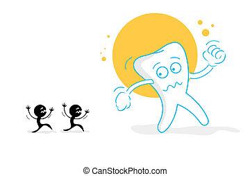 amedrontado, dentes
