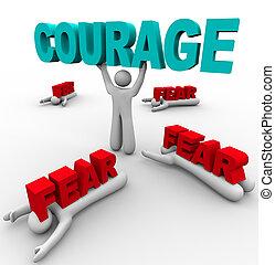 amedrontado, sucesso, uma pessoa, coragem, outros, falha,...