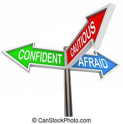 amedrontado, três, confiante, 3, cauteloso, maneira, sinais