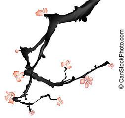 ameixa, flor, quadro, chinês