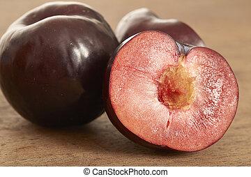 ameixa, fruta, vermelho