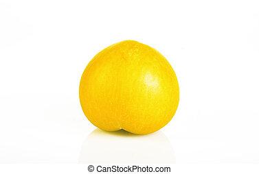 ameixa, fundo branco, isolado, amarela