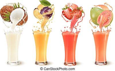ameixa, jogo, suco, respingo, coco, fruta, moranguinho, guava., vetorial, copo.
