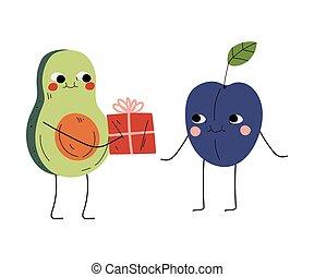 ameixa, par, presente, engraçado, cute, frutas, caráteres, abacate, caixa, feliz, ilustração, melhor, dar, alegre, caras, amor, sorrindo, amigos, vetorial