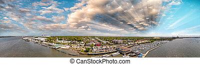 Amelia Islan, Fernandina Beach, Florida. Aerial panoramic view at sunset.