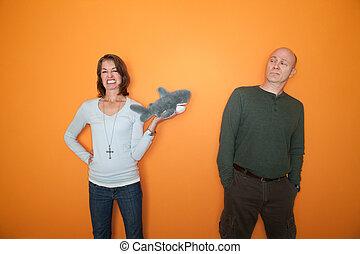 amenaza, mujer, juguete, hombre