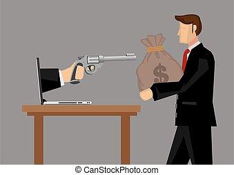 amenazado, vector, negocios, tacto, ilustración, caricatura,...