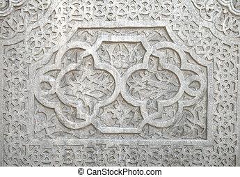 amende, plâtre, travail, khiva, mosaïque