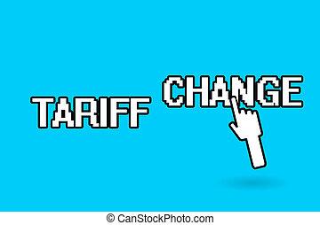 amendement, change., marchandises, business, photo, projection, impôts, écriture, conceptuel, exportation, showcasing, importation, main, tarif, services