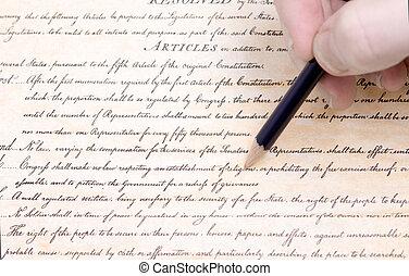 amendement, nous, édition, crayon, premier, constitution