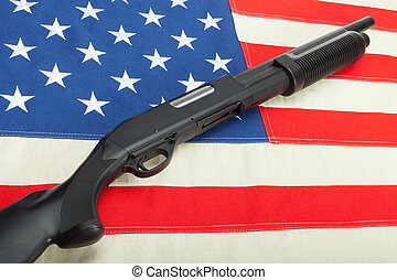 amendement, usa, fusil chasse, sur, seconde, drapeau, symbole