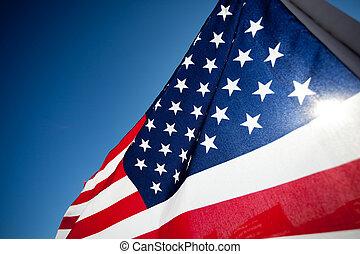 amereican, 旗, 顯示, 紀念, 國慶節