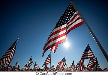 Amereican Flag display commemorating national holiday -...