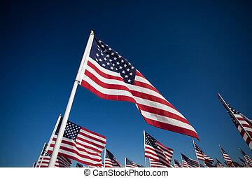 amereican, national, commémorer, drapeau, vacances, exposer