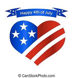 američanka samostatný příjem den, nitro, a, prapor, oslava, eps10