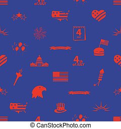 američanka samostatný příjem den, oslava, ikona, seamless, model, eps10