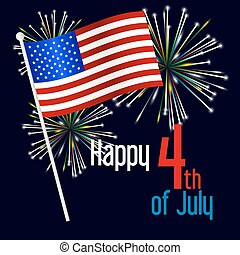 američanka samostatný příjem den, oslava, s, prapor, a, ohňostroj, eps10