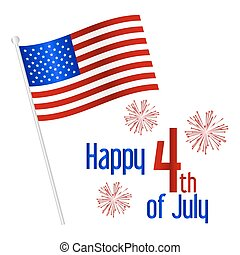 američanka samostatný příjem den, oslava, s, prapor, eps10