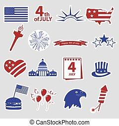 američanka samostatný příjem den, oslava, stickes, dát, eps10