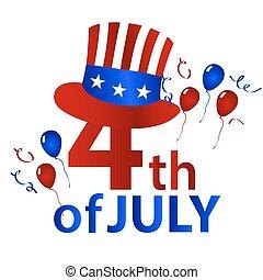 američanka samostatný příjem den, s, klobouk, oslava, eps10