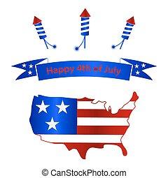 američanka samostatný příjem den, s, usa, mapa, oslava, eps10