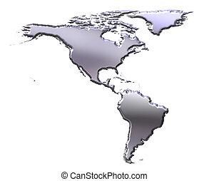 America 3D Silver Map