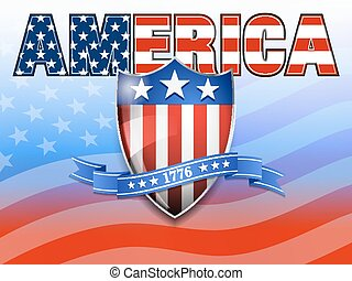 AMERICA American Flag and Shield