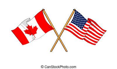 America and Canada alliance and friendship - cartoon-like...