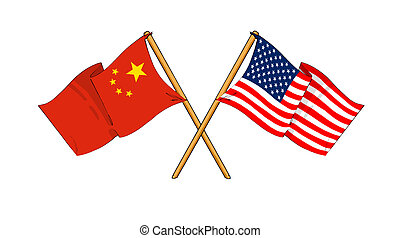 America and China alliance and friendship - cartoon-like...