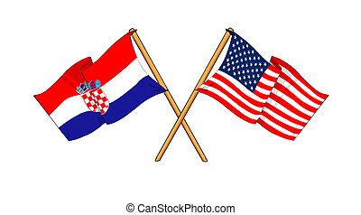 America and Croatia alliance and friendship - cartoon-like...
