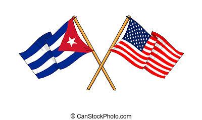America and Cuba alliance and friendship - cartoon-like...