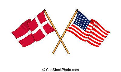 America and Denmark alliance and friendship - cartoon-like...