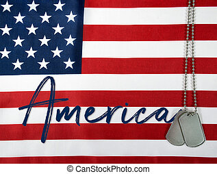 America and dog tags on flag