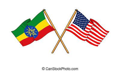America and Ethiopia alliance and friendship - cartoon-like...