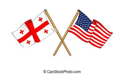 America and Georgia alliance and friendship - cartoon-like...