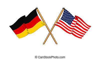 America and Germany alliance and friendship - cartoon-like...