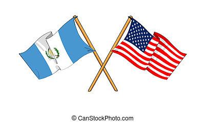 America and Guatemala alliance and friendship - cartoon-like...