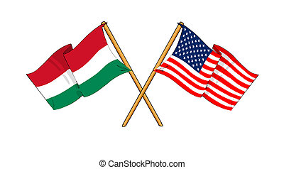 America and Hungary alliance and friendship - cartoon-like...