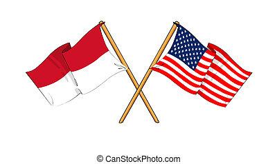 America and Indonesia alliance and friendship - cartoon-like...