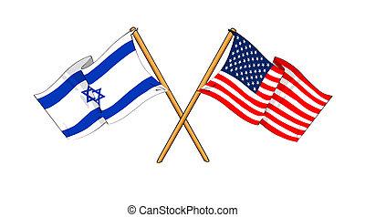 America and Israel alliance and friendship - cartoon-like...