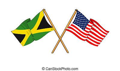 America and Jamaica alliance and friendship - cartoon-like...