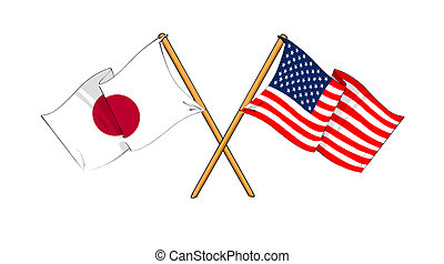 America and Japan alliance and friendship - cartoon-like...
