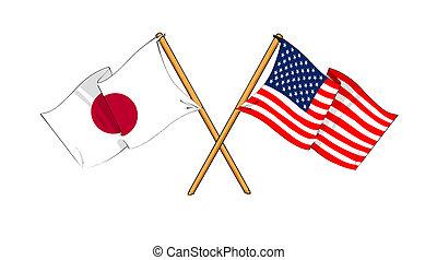America and Japan alliance and friendship - cartoon-like...